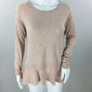 Knitted knotted lace bottom cashmere blend sweater